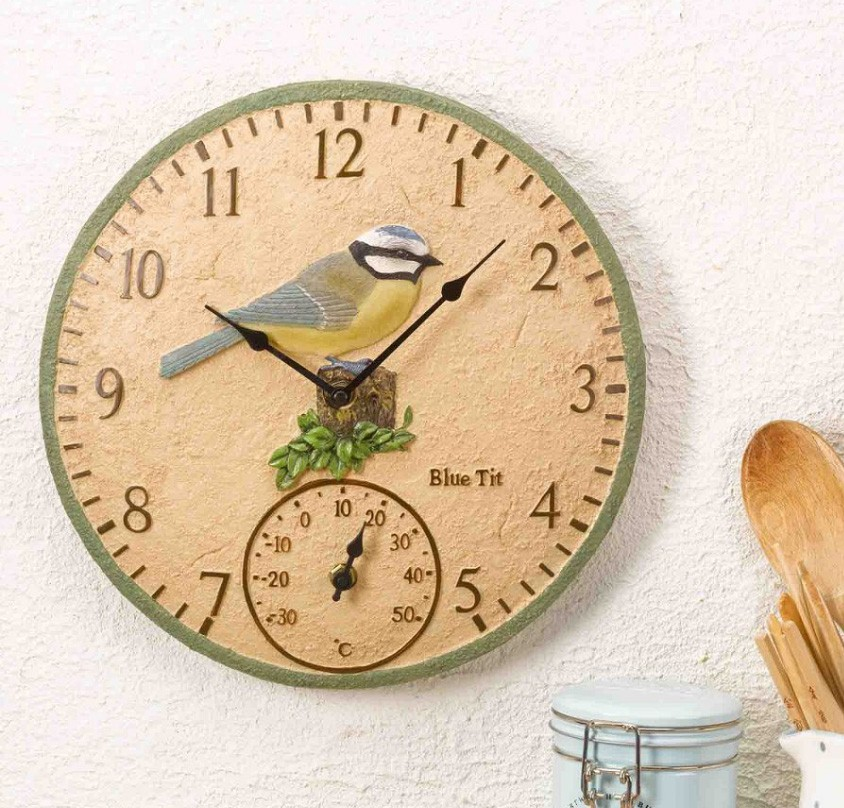 Smart Garden Blue Tit Wall Clock & Thermometer 12''