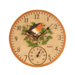 Smart Garden Robin Wall Clock & Thermometer 12''