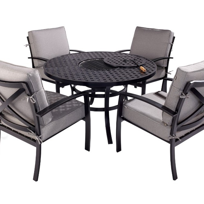Jamie Oliver 4 Seat Fire Pit Set - Riven Pewter