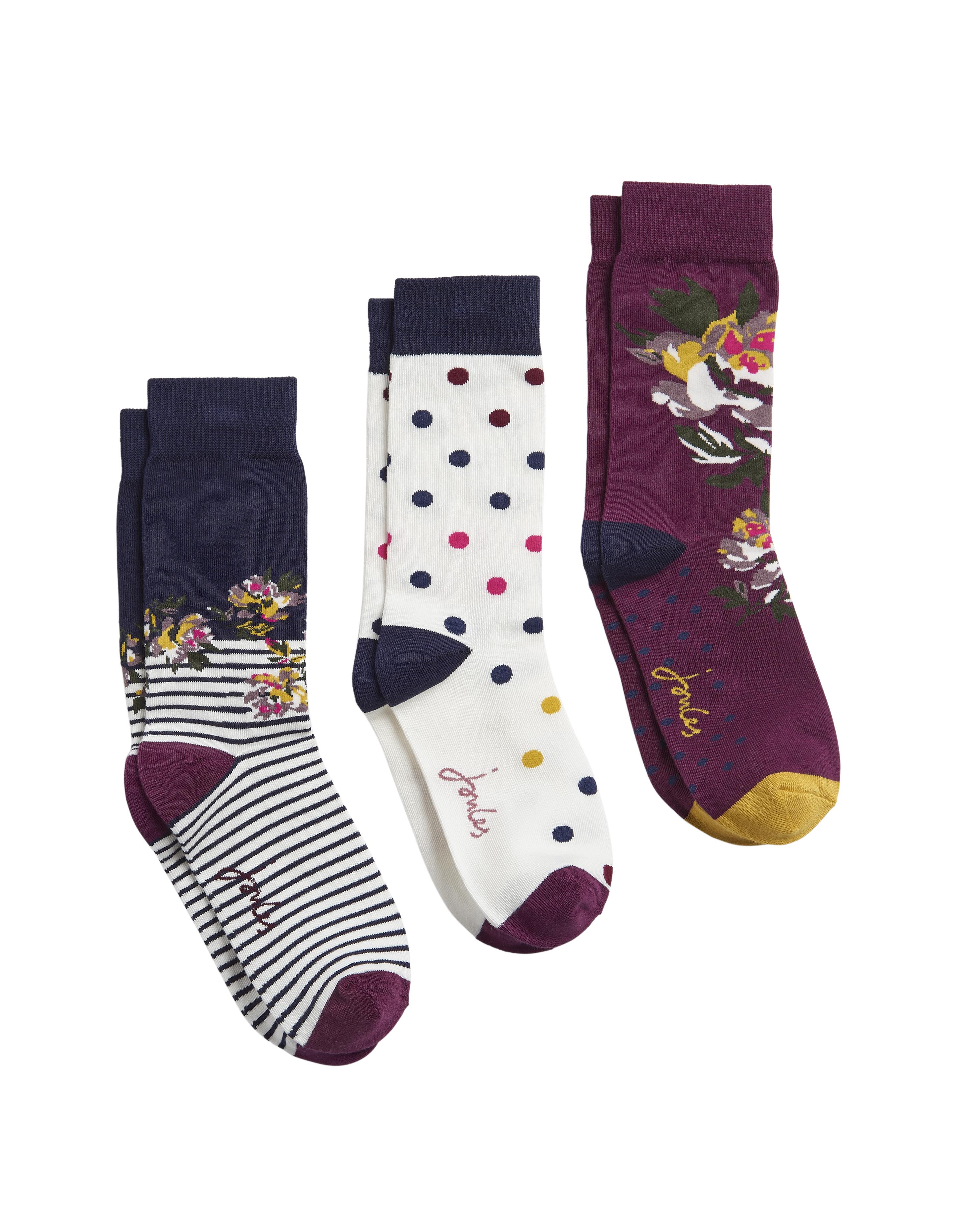 Joules Ladies Brilliant Bamboo 3Pk Bamboo Socks - Purple Multi Floral UK 4-8