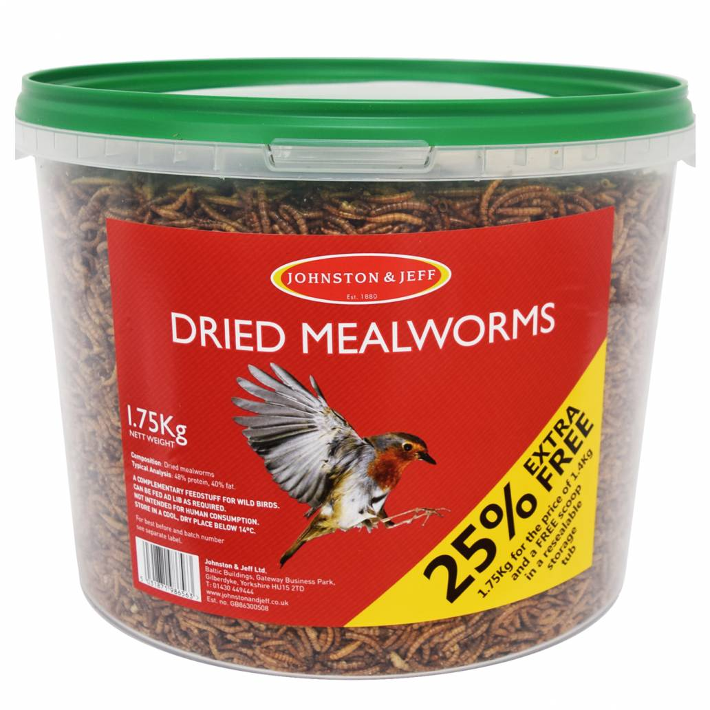 Johnston & Jeff Dried Mealworm Tub 1.4kg with 25% extra free (1.75kg)