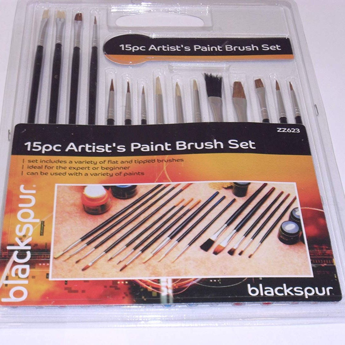 Blackspur 15Pc Artist'S Paint Brush Set