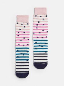 Joules Ladies Brilliant Bamboo Single Bamboo Socks - Cream Slogan Stripe UK 4-8