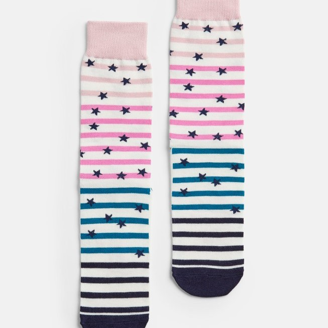 Joules Ladies Brilliant Bamboo Single Bamboo Socks - Cream Slogan Stripe UK 4-8
