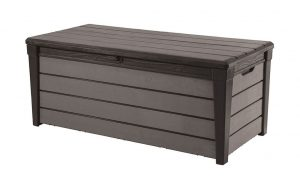 Keter Brushwood 454ltr Wood-Texture Deck Box - Black/Grey