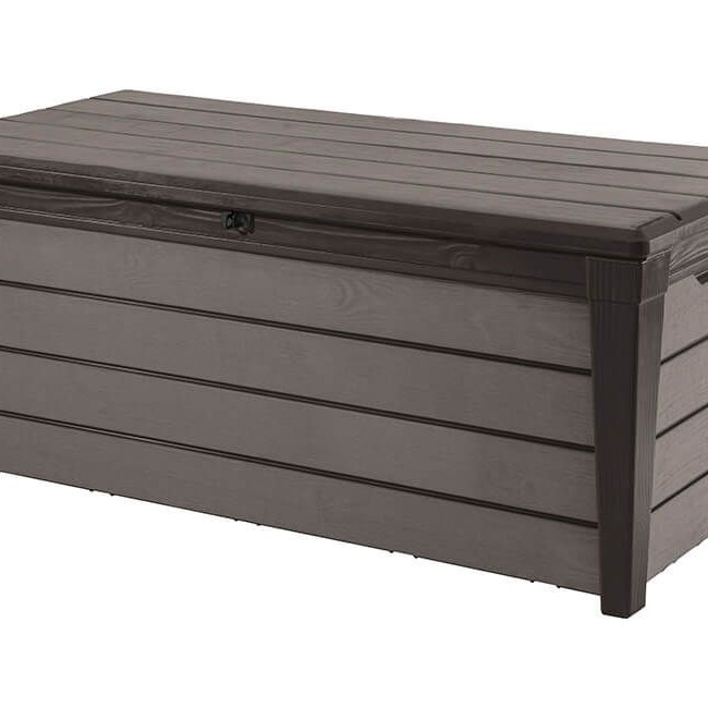 Keter Brushwood 454ltr Wood-Texture Deck Box - Black/Grey