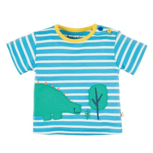 Frugi Felix Wrap Around Top Sky Breton/Dino 3-6m