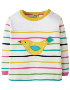 Frugi Playtime Panel Tee Rainbow Chunky Breton/Bird - 12-18m