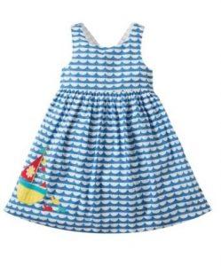 Frugi Porthcurno Party Dress High Tide/Boat 4-5yrs