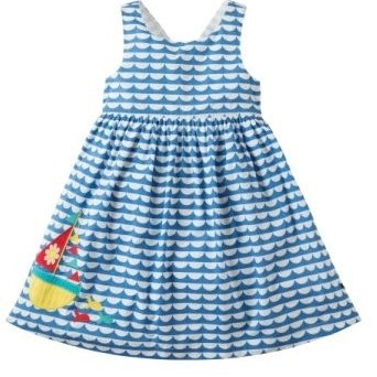 Frugi Porthcurno Party Dress High Tide/Boat 4-5yrs