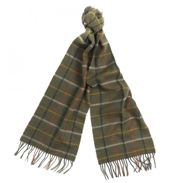 Barbour Ladies Country Tattersall Scarf - Olive/Gold