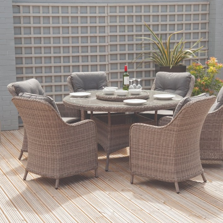 Daymer - Dove Half Round 6 Seater Round Dining Set