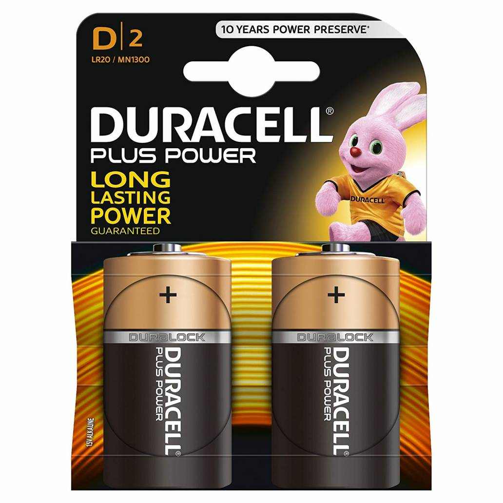 Duracell D 2Pk Batteries - Plus Power