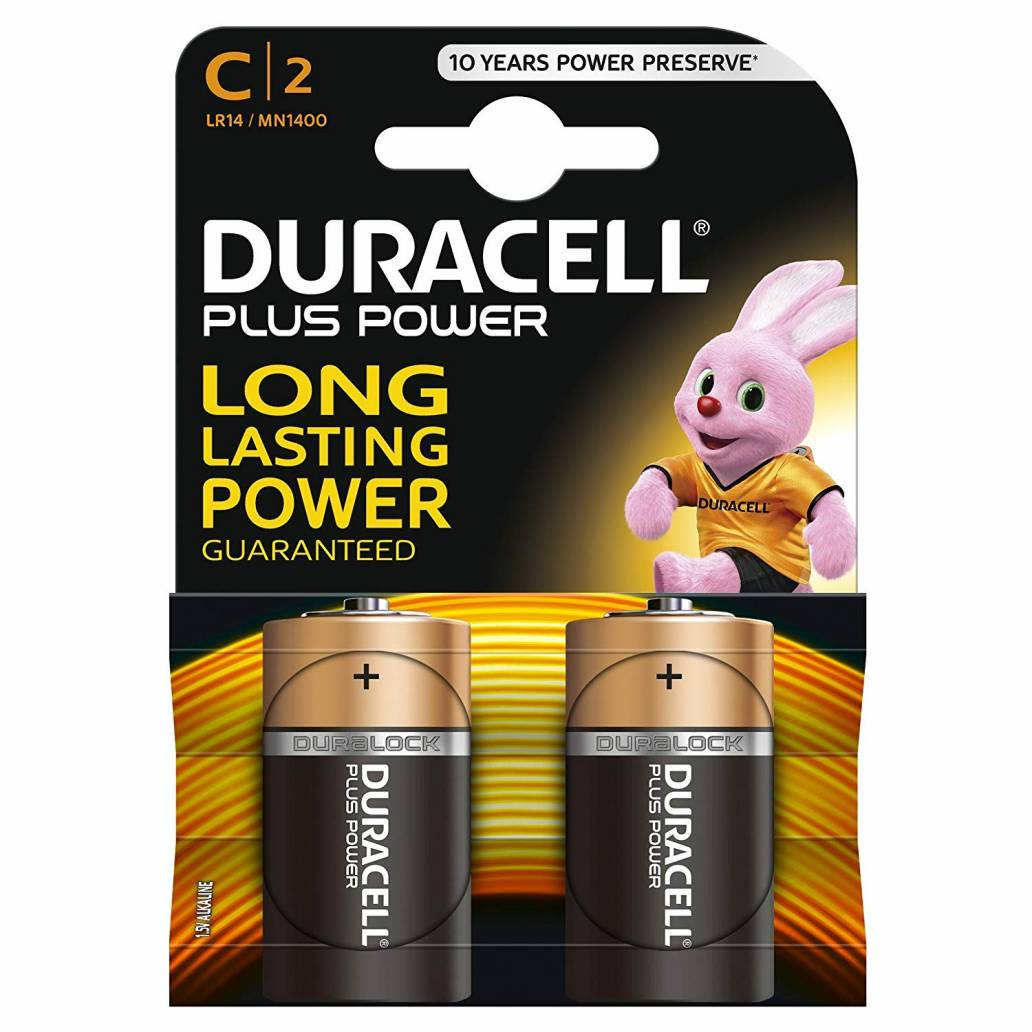 Duracell C 2Pk Batteries - Plus Power