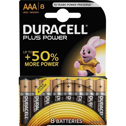 Duracell AAA 8Pk Batteries - Plus Power