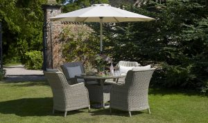Swift - 120cm Table with 4 High-Back Armchairs & Parasol