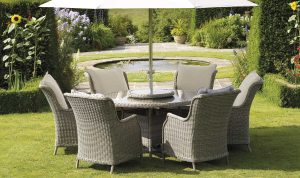 Swallow - 140cm Round Table, 60cm Lazy Susan, 6 High-Back Armchairs & Parasol