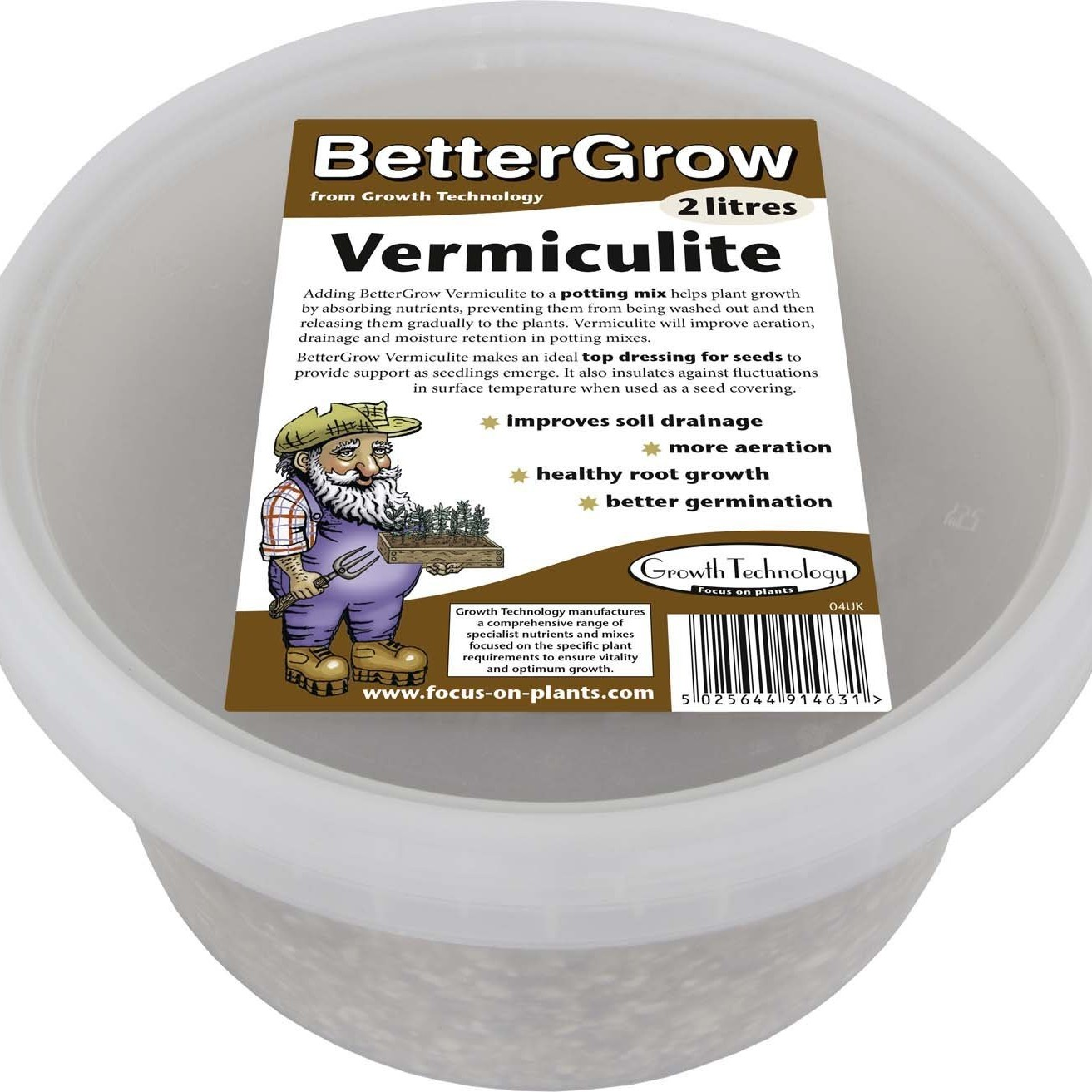 Growth Technology Bettergrow - Vermiculite Tub - 2 Litres
