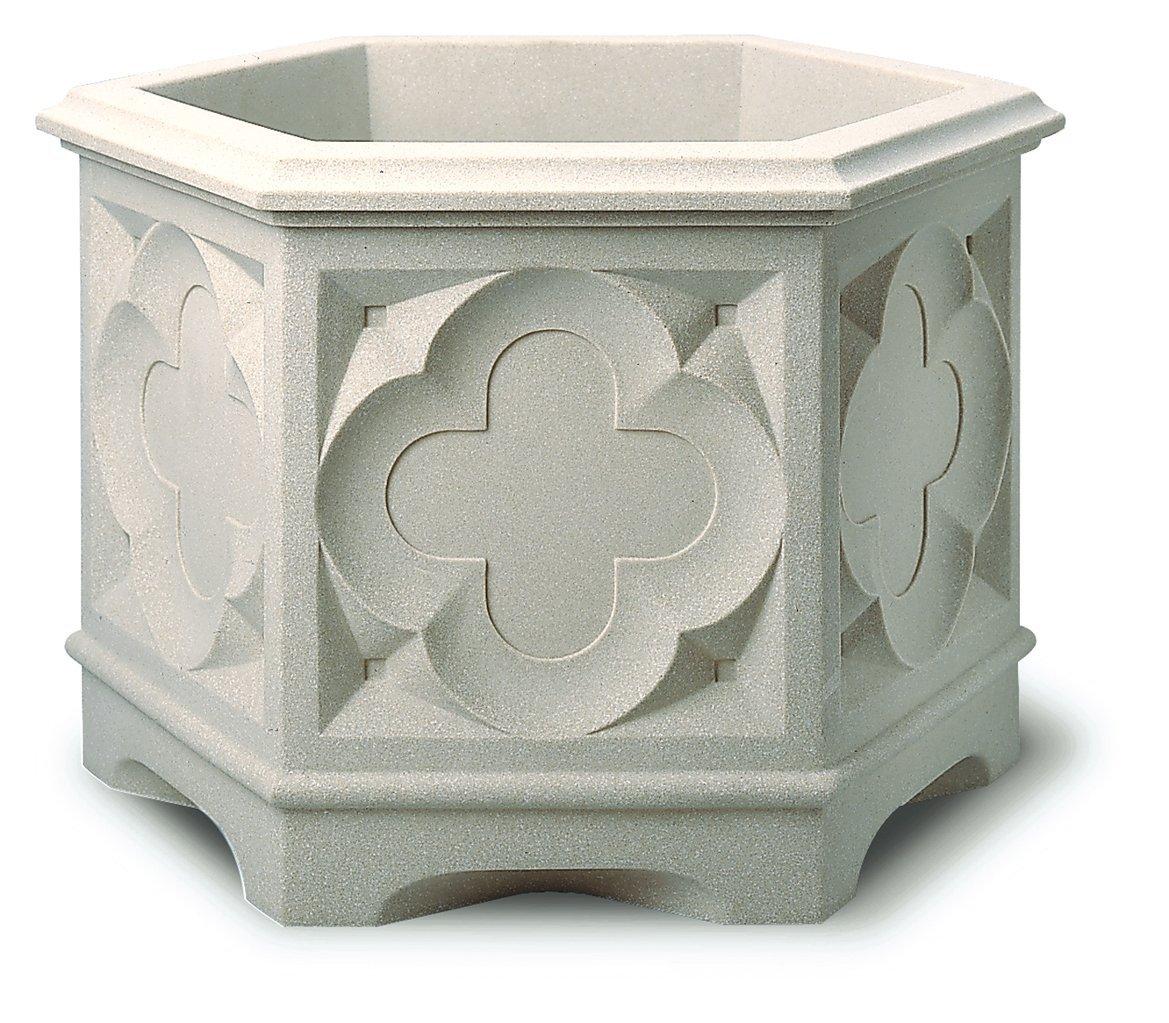 Stewart 39cm Gothic Hexagonal Planter White Stone