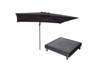 Falcon T1 3mx2m Anthracite Parasol w/ 90kg Granite Base