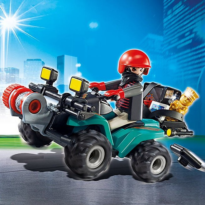 Playmobil 6879 City Action Robber's Quad with Loot with Pullback Motor