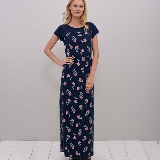 Summer Bloom Maxi Dress - Navy - UK 8