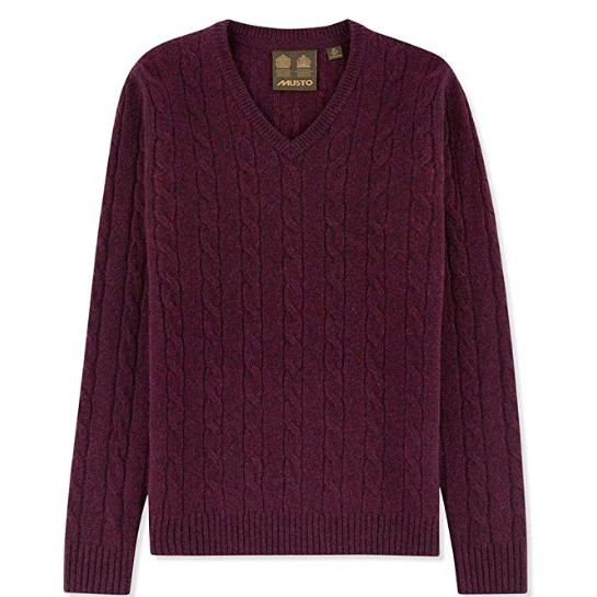 Musto Hollie V neck Cable Knit Jumper - Damson - UK 16