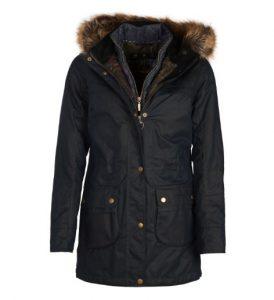 Barbour Ladies Dartford Waxed Parka Jacket - Navy - UK 18