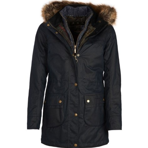 Barbour Ladies Dartford Waxed Parka Jacket - Navy - UK 18