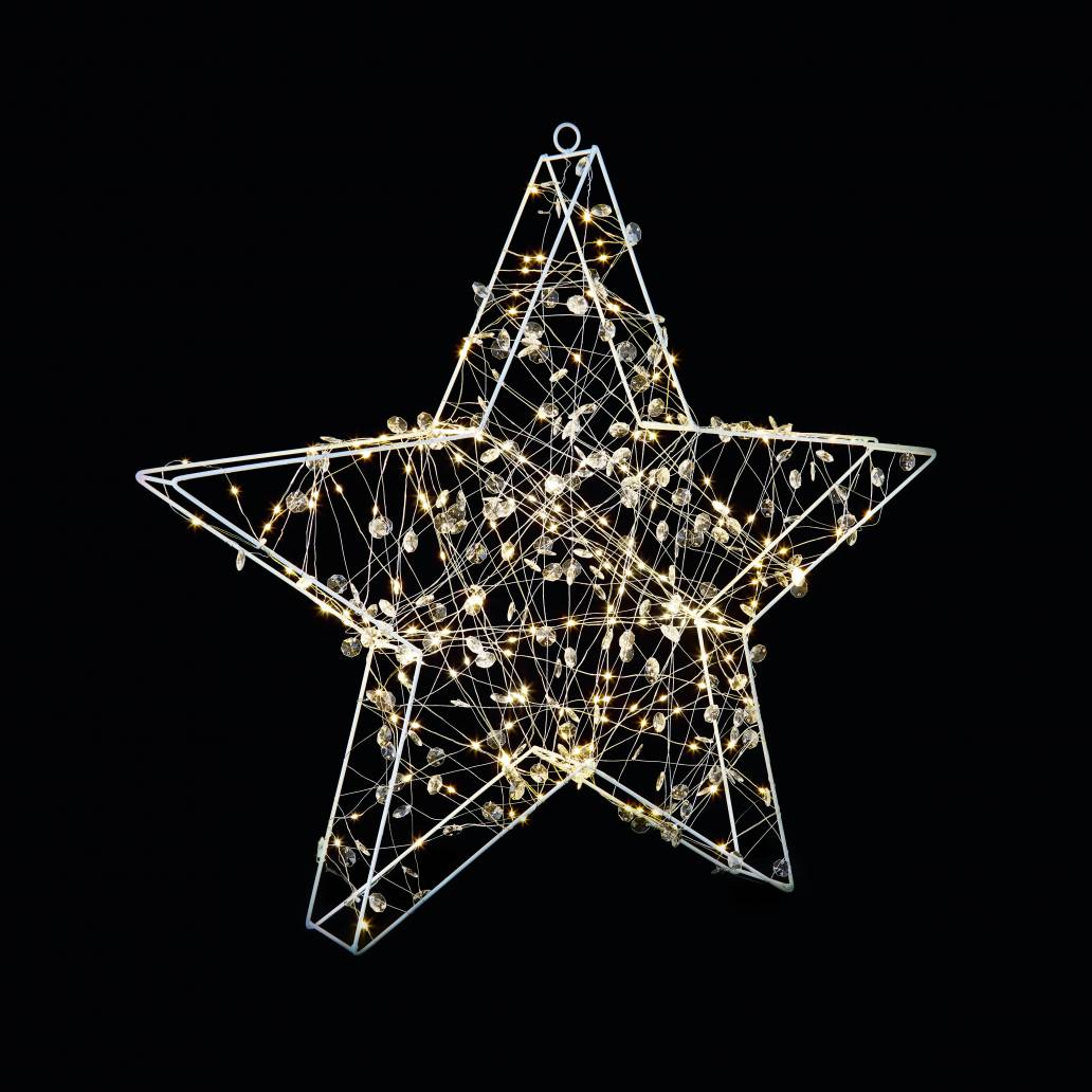 Premier 70x70cm Copper Light Star with Beads - 200 Warm White Leds - With Timer