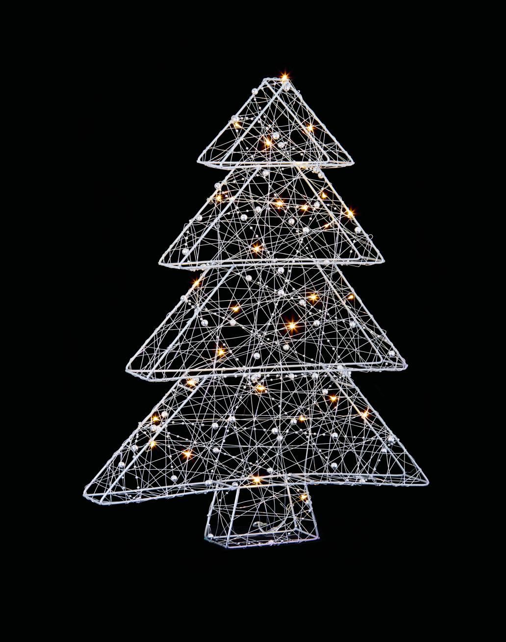 Premier 56cm B-O Wire Xmas Tree with 30 Warm White LEDs