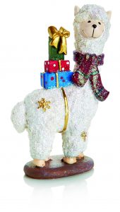 Premier 15x10cm White Christmas Alpaca with Scarf and Presents - Standing