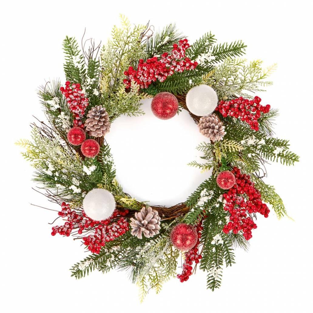 Premier 60cm Red White Berry Wreath