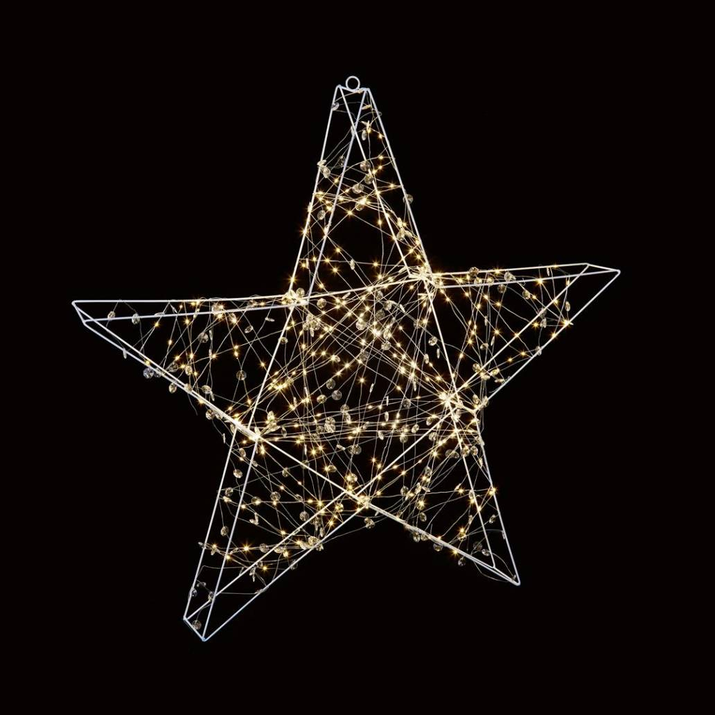 Premier 1x1m Copper Light Star with Beads - 300 Warm White LEDs - With Timer