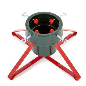 Premier 46cm Green & Red Real Tree Stand Plastic With Metal Base