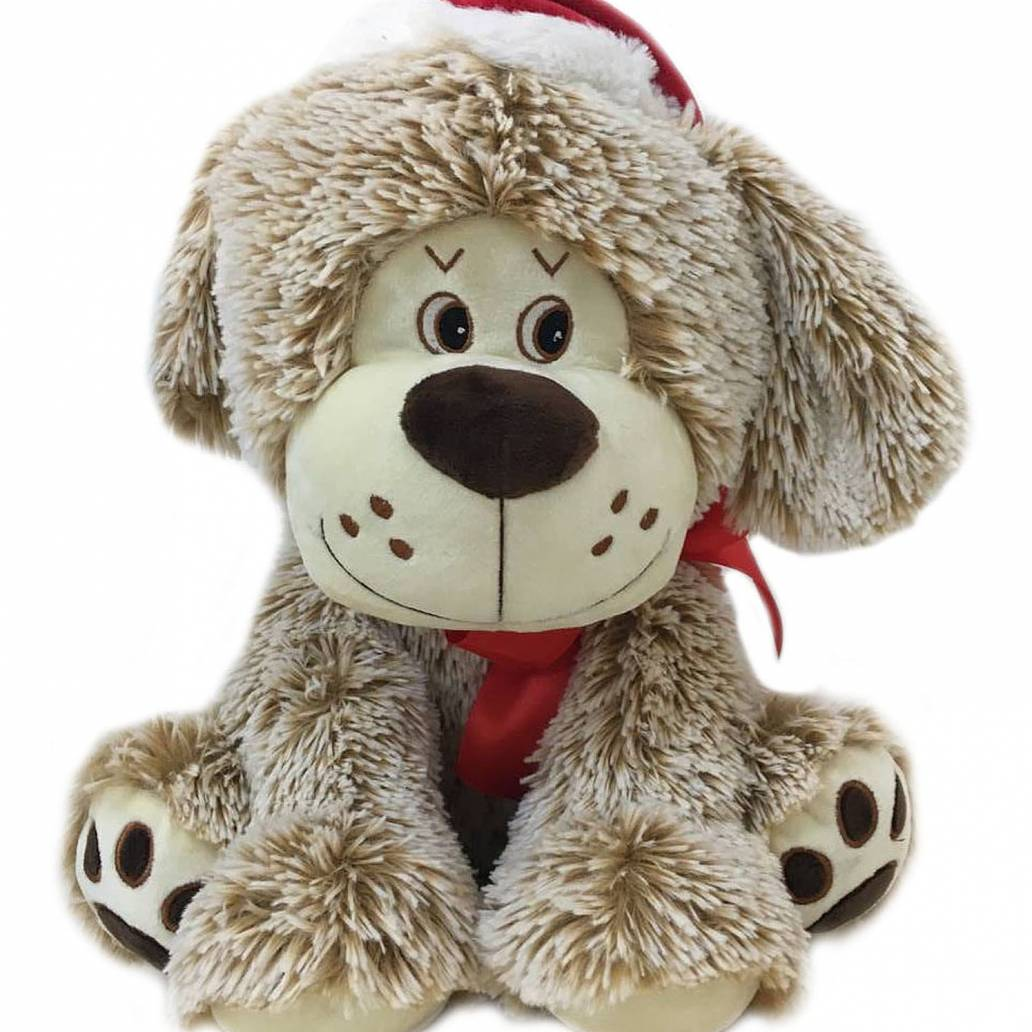 Festive 30cm brown dog with christmas hat and bow