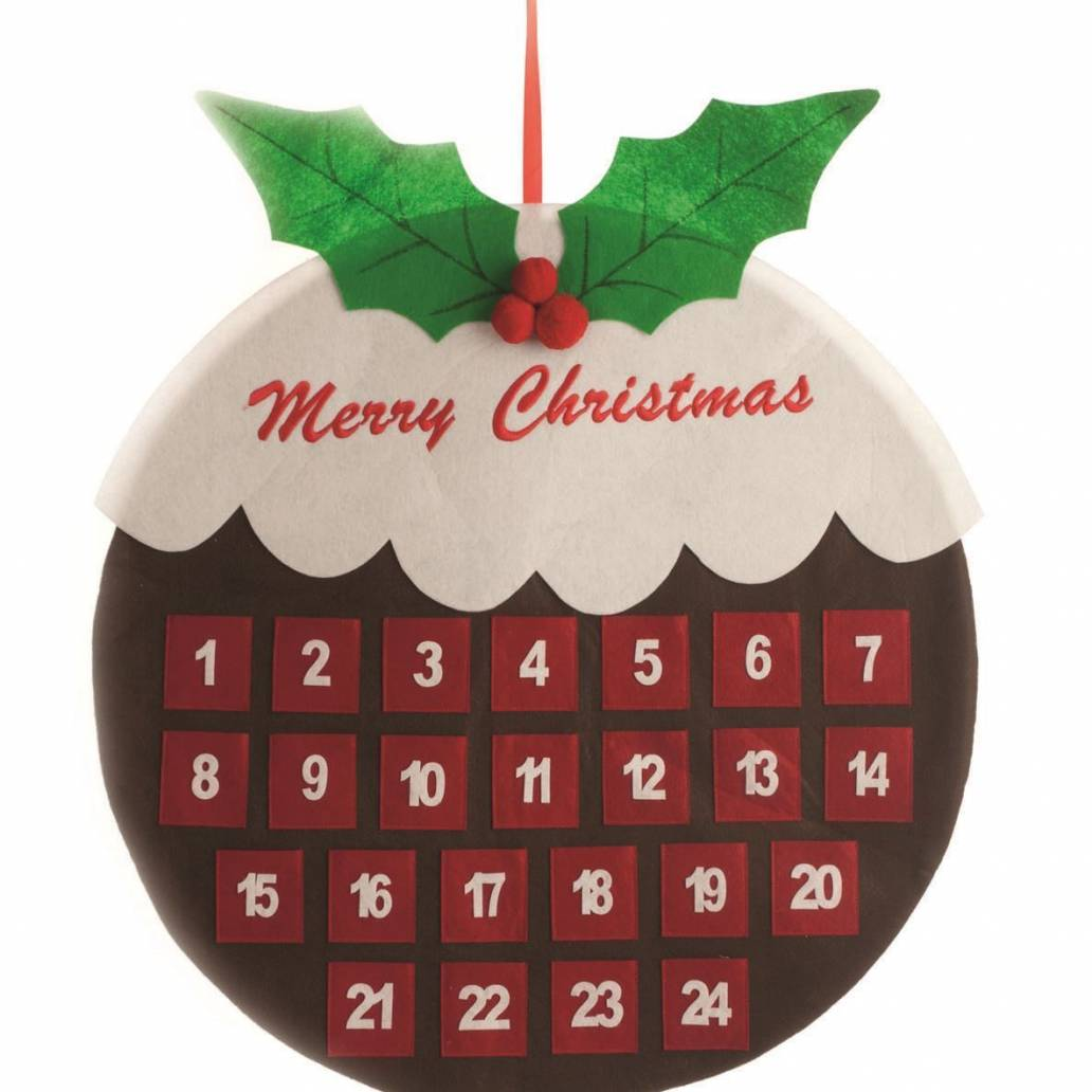 Festive 68cm Christmas Pudding Felt Wall Advent Calendar
