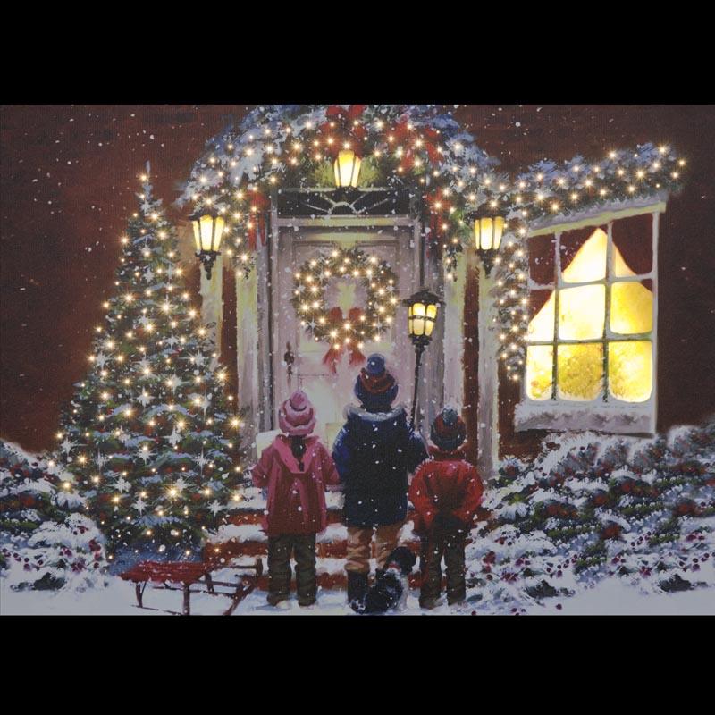 SnowTime B/O F/O 50x40cm 'Children and Dog' LED Canvas