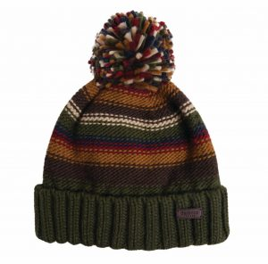Barbour Mens Harrow Striped Beanie Hat - Olive