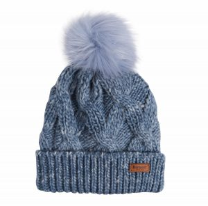 Barbour Ladies Bridport Pom Beanie Hat - Mid Blue