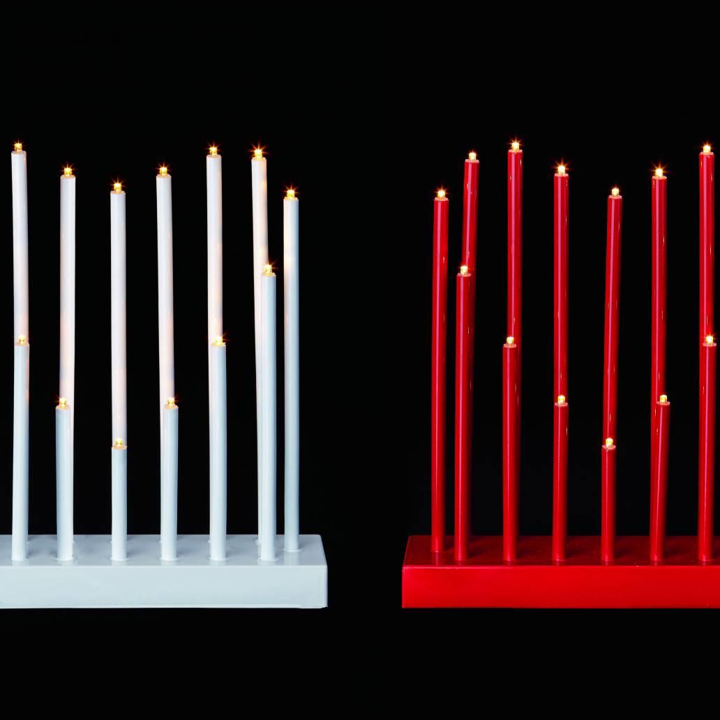 Premier 26cm B/O Heart Candlebridge With Timer - Red/White