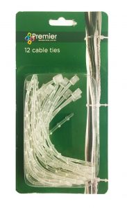 Premier Clear Garland Cable Ties 12pk