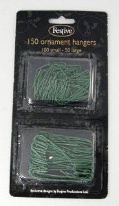 Festive 150 Green Plastic Coated Metal Ornament Hangers