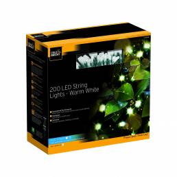 Cole & Bright Solar 200 LED String Lights - Warm White
