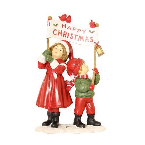 Enchante Victorian Children 'Happy Christmas' Banner Ornament