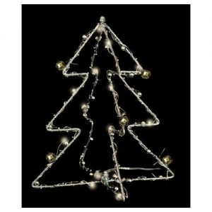 Enchante Silver Bauble 3D Tree With Lights