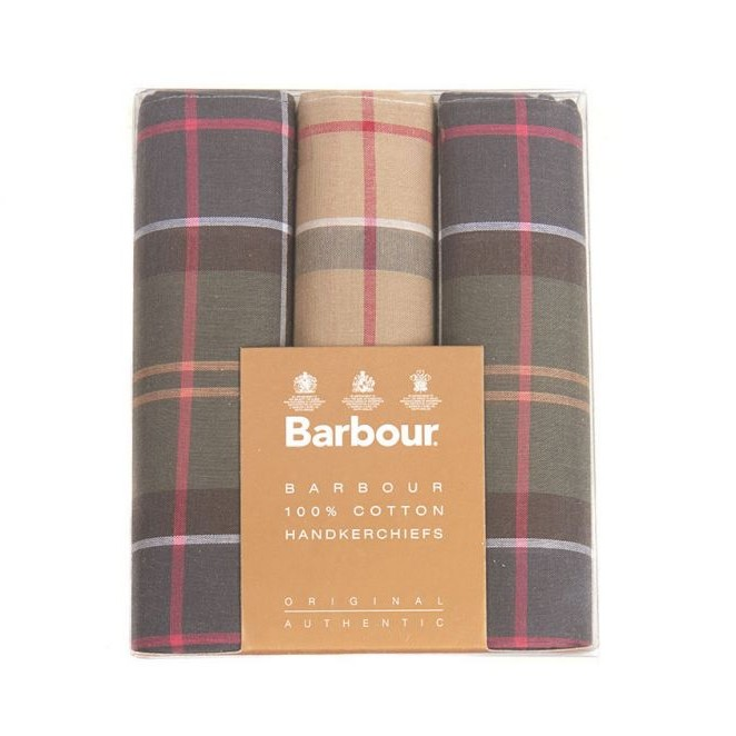 Barbour Tartan Check Cotton Hankerchiefs - 3pk