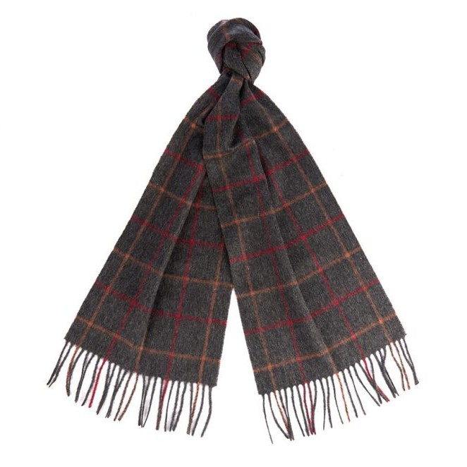 Barbour Ladies Tattersall Wool Scarf - Charcoal