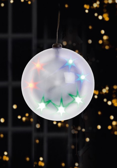 Premier 17cm Hanging Flashing Star Ball with Multi LEDs