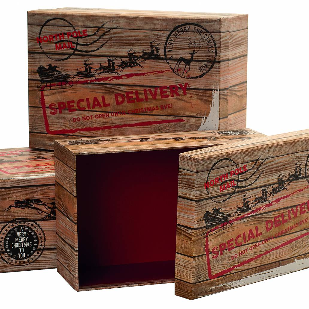 Festive Set of 3 Nested Special Delivery Christmas Eve Boxes